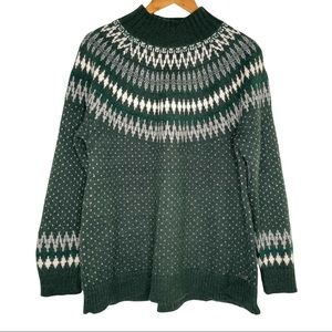 Eddie Bauer Green and White Fair Isle Sweater